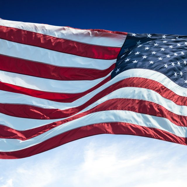 us national flag waving for a national day